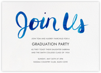 Join Us (Horizontal) - Blue - Linda and Harriett - Virtual Graduation Party Invitations