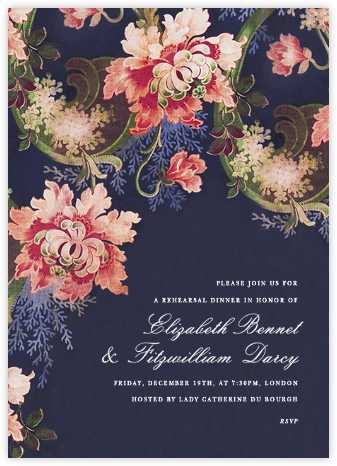 Rose Floral Ikat I - Navy - Oscar de la Renta - Adult Birthday Invitations