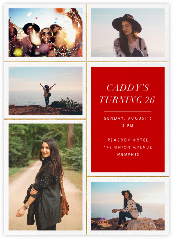 Quint - Red/Gold - Paperless Post - Adult Birthday Invitations
