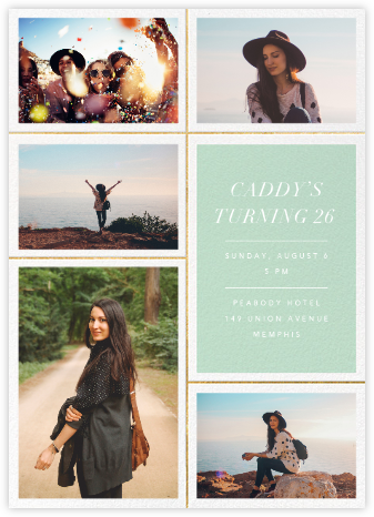 Quint - Mint/Gold - Paperless Post - Adult Birthday Invitations