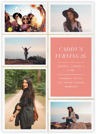 Quint - Papaya/Gold - Paperless Post - Adult Birthday Invitations