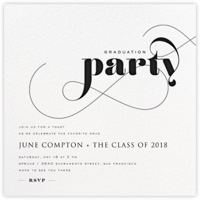 Graduation Whirl - Black - bluepoolroad - bluepoolroad invitations and cards