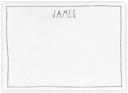 Single Hand Drawn Border - Blue - Linda and Harriett - Personalized stationery