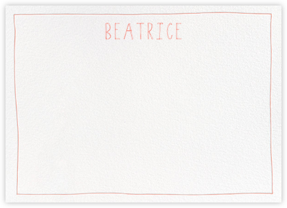 Single Hand Drawn Border - Pink - Linda and Harriett - Personalized Stationery