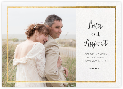 Idylle (Photo) - White/Gold - Paperless Post - Wedding Announcements