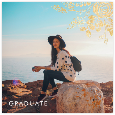 Heather and Lace (Photo) - Gold - Rifle Paper Co. - Graduation announcements