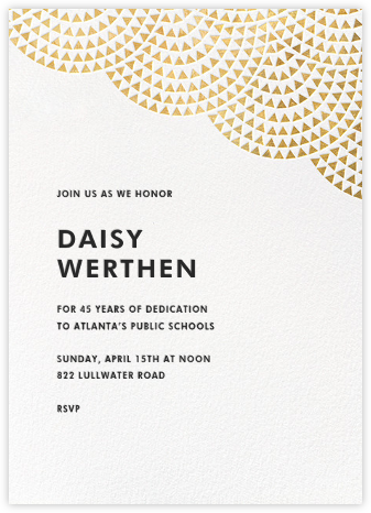 Savoy (Tall) - Gold - Paperless Post - Retirement invitations, farewell invitations