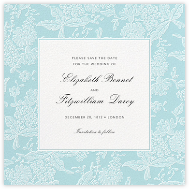 Hydrangea Lace I (Save the Date) - Blue - Oscar de la Renta - Save the dates
