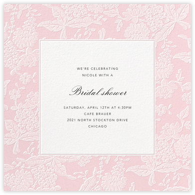 Hydrangea Lace I (Square) - Pink - Oscar de la Renta - Bridal shower invitations