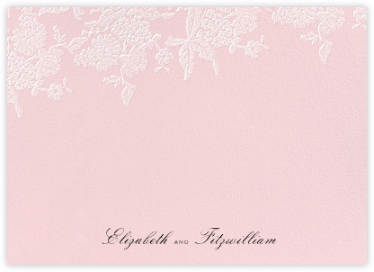 Hydrangea Lace I (Stationery) - Pink - Oscar de la Renta - Personalized Stationery