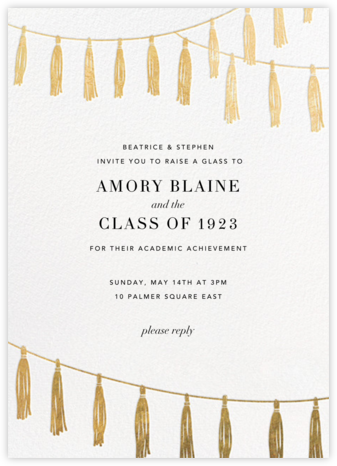 Tasseled II - Gold - Paperless Post - Graduation Party Invitations