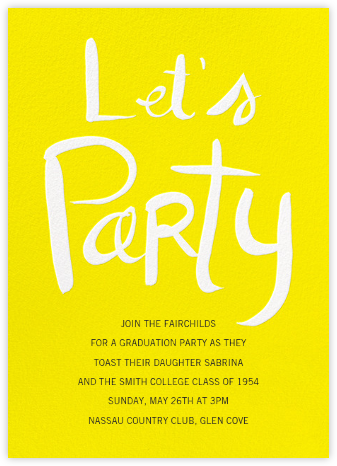 Let's Party - Yellow - Linda and Harriett - Celebration invitations