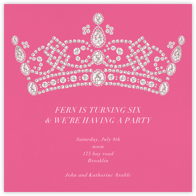 Tiara - Pink - Paperless Post - Birthday invitations
