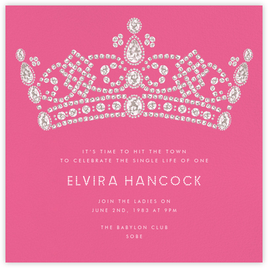 Tiara - Pink - Paperless Post - Bachelorette party invitations