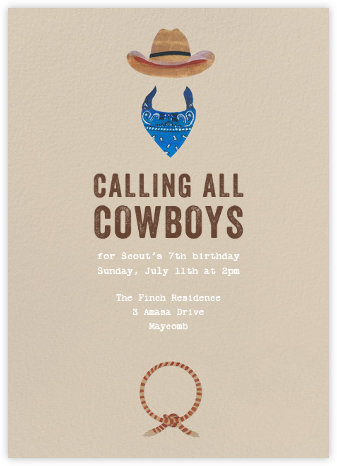 Jesse James - Blue - Paperless Post - Kids' birthday invitations