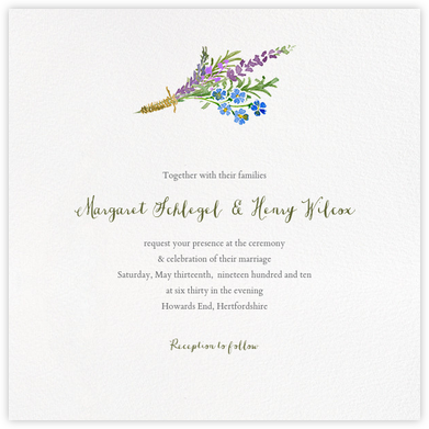 Mountain Flora (Invitation) - Lilac - Paperless Post - Wedding Invitations