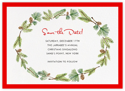 Delicate Firs (Horizontal) - Paperless Post - Holiday Save the Dates
