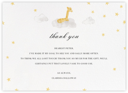 Starry Slumber (Stationery) - Giraffe - Paperless Post - Kids' thank you notes