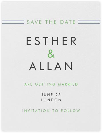 Collins Avenue (Save The Date) - Charcoal Gray & Spring Green - Crane & Co. - Save the dates