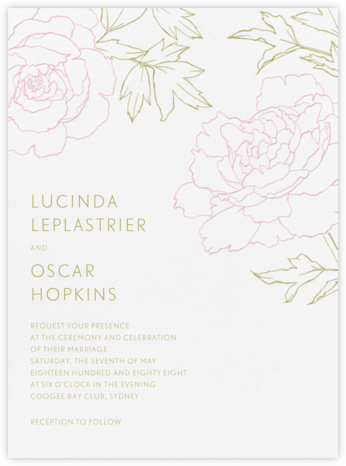 Meet Me in the Menagerie - Moss Green and Peony - Crane & Co. - Wedding Invitations