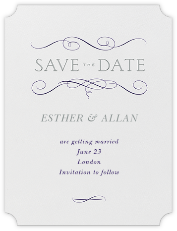 Anjou (Save The Date) - Amethyst and Pewter Gray - Crane & Co. - Save the dates