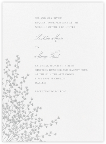 Forsythia - Platinum - Crane & Co. - Wedding Invitations