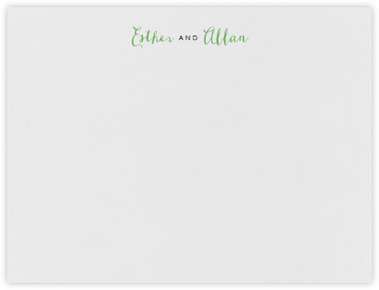 Miller (Thank You) - Charcoal Gray & Spring Green - Crane & Co. - Personalized Stationery