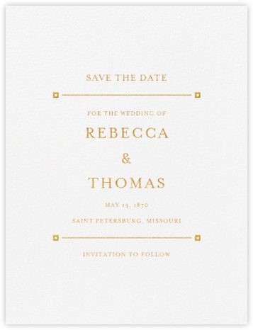 Candela (Save the Date) - Gold - Crane & Co. - Classic save the dates