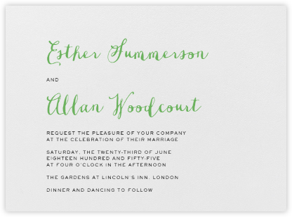 Miller - Charcoal Gray and Spring Green - Crane & Co. - Wedding Invitations