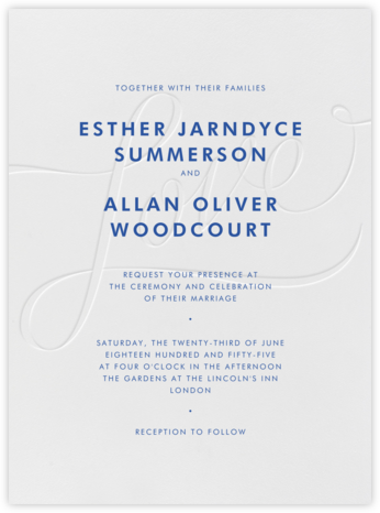 Love Is Grand - Deboss and Regent Blue - Crane & Co. - Classic wedding invitations