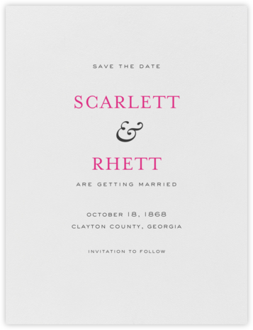 Standish (Save The Date) - Charcoal Gray and Raspberry - Crane & Co. -