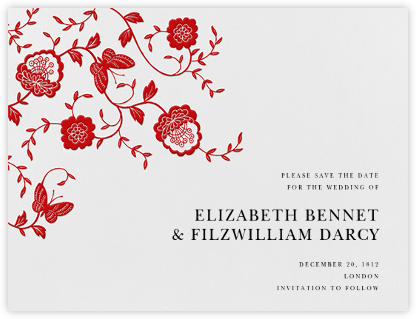 Floral Applique (Save the Date) - Red - Oscar de la Renta - Save the dates