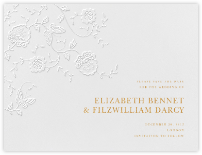 Floral Applique (Save the Date) - Blind Emboss - Oscar de la Renta - Save the dates
