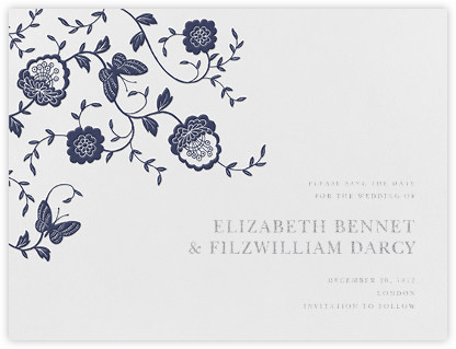 Floral Applique (Save the Date) - Navy - Oscar de la Renta -