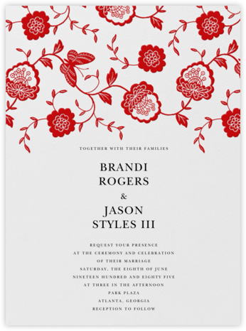 Floral Applique - Red - Oscar de la Renta - Wedding Invitations