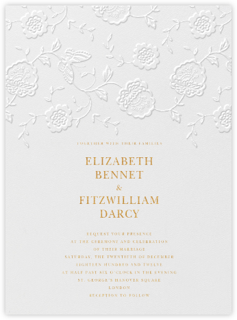 Floral Applique - Blind Emboss - Oscar de la Renta - Wedding invitations