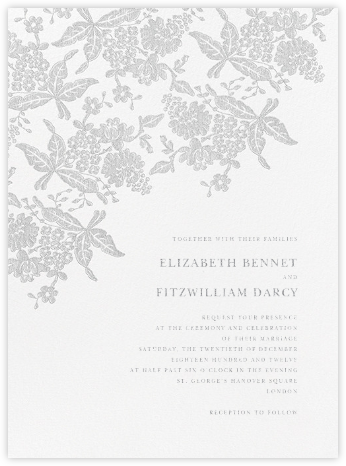 Hydrangea Lace II - Platinum - Oscar de la Renta - Wedding Invitations