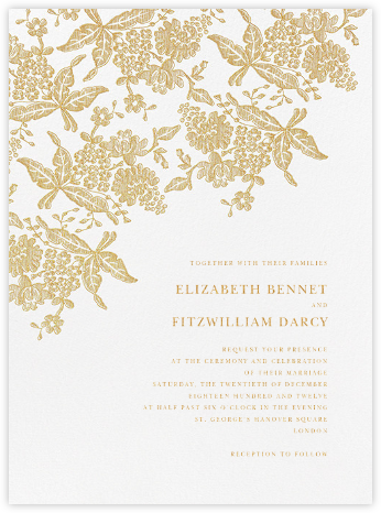 Hydrangea Lace II - Gold - Oscar de la Renta - Wedding invitations