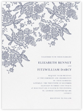 Hydrangea Lace II - Navy - Oscar de la Renta - Wedding Invitations