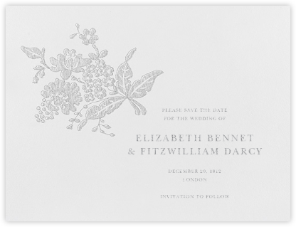 Hydrangea Lace II (Save The Date) - Platinum - Oscar de la Renta - Save the dates