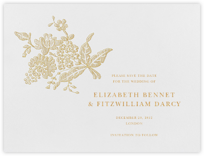 Hydrangea Lace II (Save The Date) - Medium Gold - Oscar de la Renta - Oscar de la Renta Cards