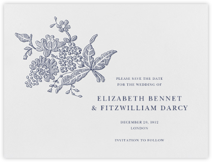 Hydrangea Lace II (Save The Date) - Navy - Oscar de la Renta -