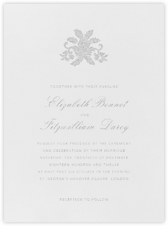Leaf Lace Il - Platinum - Oscar de la Renta - Wedding Invitations
