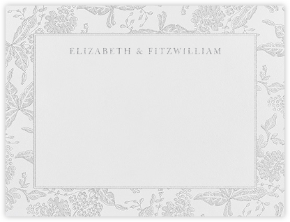 Hydrangea Lace II (Thank You) - Platinum - Oscar de la Renta - Personalized Stationery
