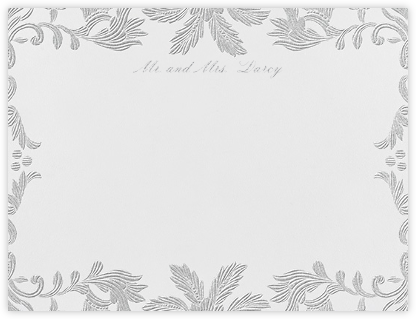 Leaf Lace II (Thank You) - Platinum - Oscar de la Renta - Personalized Stationery