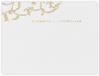 Silk Brocade I (Stationery) - Gold - Oscar de la Renta - Personalized Stationery
