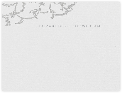 Silk Brocade I (Stationery) - Platinum - Oscar de la Renta - Personalized Stationery
