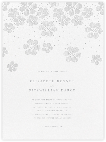 Blossoms on Tulle II - Platinum - Oscar de la Renta - Wedding Invitations