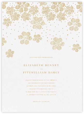 Blossoms on Tulle II - Medium Gold - Oscar de la Renta - Romantic wedding invitations