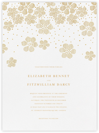 Blossoms on Tulle II - Medium Gold - Oscar de la Renta - Wedding Invitations